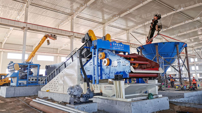 砂石料细沙回收机作业现场,环保生产产量高